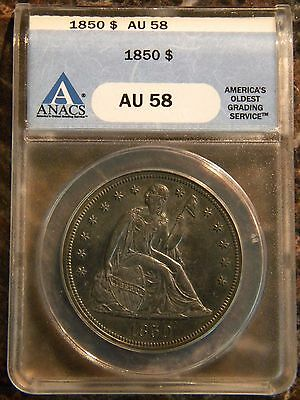 1850 Seated Liberty Dollar ANACS AU-58 Doubled 0 Variety 1850 $1 Coin Dollars