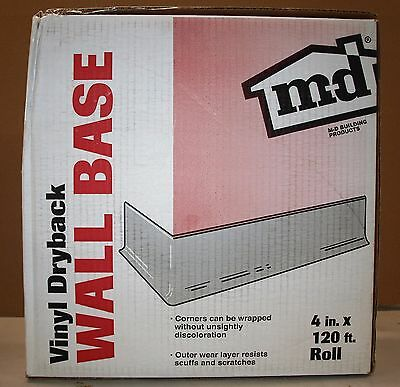 M-d building products, 75507 white vinyl wall base 4 in.x120' roll