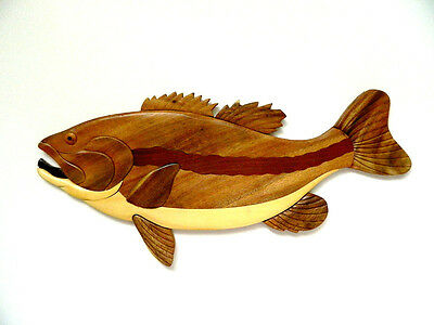 Largemouth Bass Fish Fishing Intarsia Wood Wall Art Home Decor Plaque Lodge New