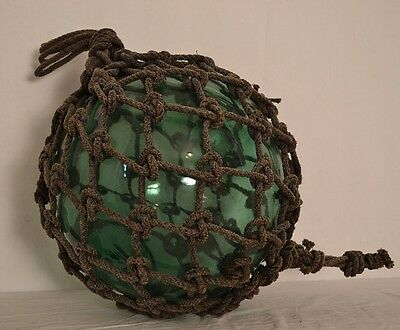 "Vintage Japanese Glass Fishing Float 42""  Circumference Including Rope ShipsFAST"
