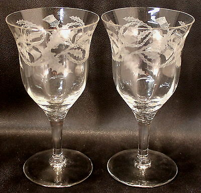 "TWO (2) Tiffin Glass Thistle Etched 6 3/4"" Wine / Water Goblets EXCELLENT COND."