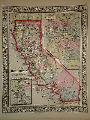 Vintage 1860 California Map Old Antique Original Atlas Map 63/050317