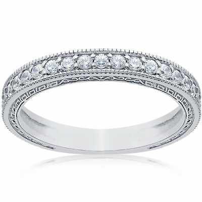 1/2ct Vintage Diamond Wedding Ring 14K White Gold Womens Stackable Band