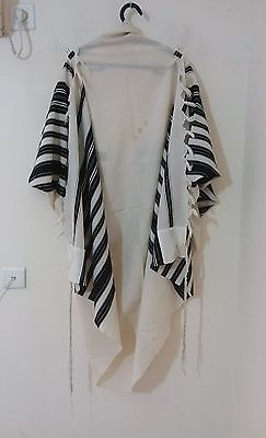 "USED KOSHER TALLIT PRAYER SHAWL 100% WOOL chabad style 72""X54"" 182X136 CM #1223"