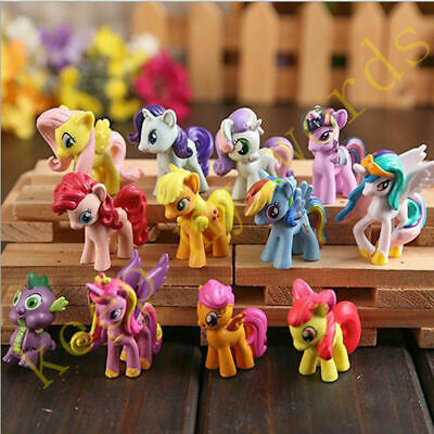 12 PCS My Little Pony Cake Toppers PVC Kids Girls Toys Gift Figurines Decoration