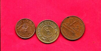 Guyana 3 Diff Different 1989-2005 Used Coin Lot Collection Set