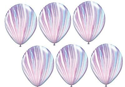 6 BALLOONS new PINK purple BLUE swirl MARBLE agate TIE DYE die PARTY favors NEW