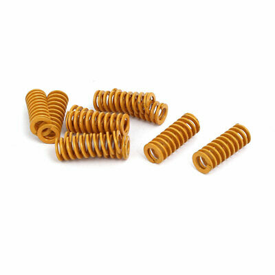 8mm Outer Dia 20mm Long Lightest Load Compression Mould Die Spring Yellow 10pcs
