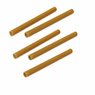 8mm Outer Dia 100mm Length Lightest Load Compression Die Spring Yellow 5pcs