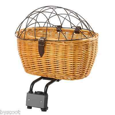 Basket front rear wicker with grid protection dog cat bike fixing