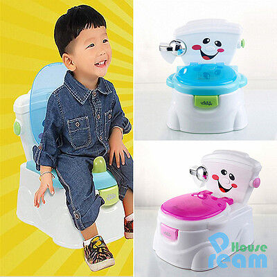 2 in 1 Toddler Potty Training Seat Baby Kids Fun Toilet Trainer Chair Blue