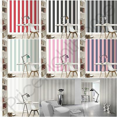 Rasch Wide Stripe Wallpaper Horizontal Vertical - White Silver Pink Red Black