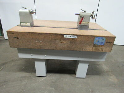 "STARRETT 5'x3'x10"" Pink Granite Surface Inspect. Plate W/T-Slot,Centers,& Stand"