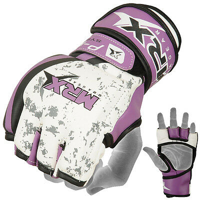 MMA Grappling Gloves Boxing Punch Fight UFC Cage Glove Thumb Less Purple, Small