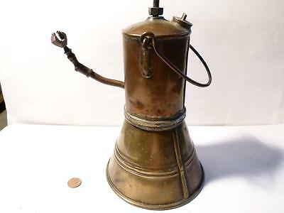 Antique Rare Copper & Brass WHALE OIL Whaling Ship Miners ? LAMP Unusual Shape