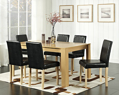Dining Table and 4 or 6 Chairs with Faux Leather Oak Walnut Furniture Room Set