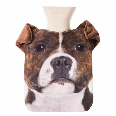 NEW Staffy Hot Water Bottle Pet Hotty With Removable Cover and Plush Ears