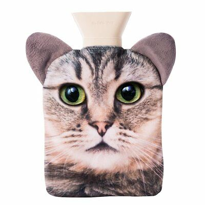 NEW Tabby Cat Hot Water Bottle Pet Hotty With Removable Cover and Plush Ears