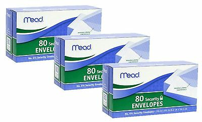 NEW! MEAD Security Envelope #6 White 80 Count 75212 3-Packs (240 Envelopes)