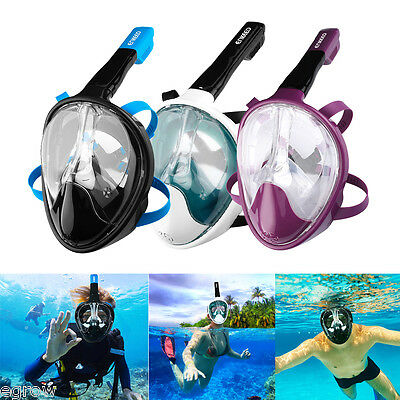 Full Face Snorkeling Snorkel Mask Diving Goggle 180° Panoramic Seaview For GoPro