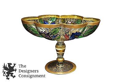 Antique Julius Muhlhaus Bohemian Enameled Glass Footed Compote Bowl Dish 1910-15