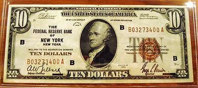 1929 $10 Ten Dollar Fed Reserve Bank Of New York National Brown Seal Note - #c5