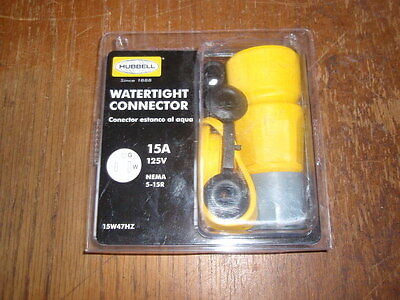 HUBBELL BRYANT 15W47BRY WATERTIGHT STRAIGHT BLADE ELECTRICAL CONNECTOR WITH CAP