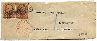 NETHERLANDS, RED ANNUL AMSTERDAM, 1865, PAIR STAMPS C10 EACH            m