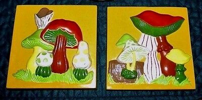 2 Vintage 1970s Mushroom Ceramic Wall Hangings Hand Painted Mold Tiles Plaques