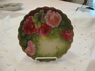 Hand Painted Pink Rose Plate ~ Germany