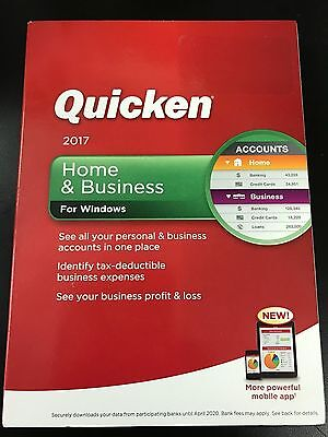 Quicken Home and Business 2017 Brand New Sealed WINDOWS 10