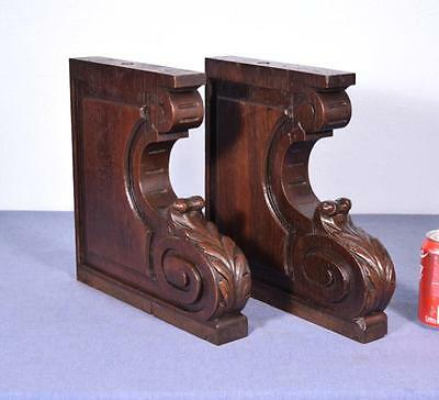 *Pair of XL Antique French Oak Corbels/Brackets Carved Architectural Columns