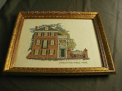 FRAMED NEEDLEPOINT PICTURE OF CHARLESTON SINGLE HOUSE - PETI POINT - ng