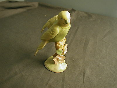 Vintage Ceramic Parakeet Figurine - On Post W/ Flowers - Handmade - Signed Mj