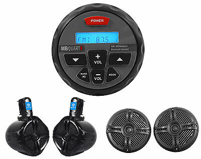 MB QUART GMR-2 Marine Boat Receiver w/ Bluetooth/iTunes/MP3+Speakers+Wakeboards