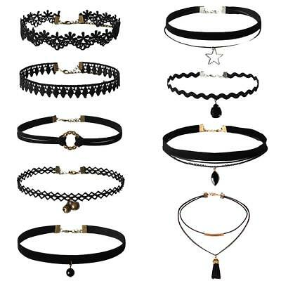 9 Pcs Women Lady Lace Gothic Cross Black Neck Choker Party Short Necklace