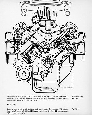 1964 Opel Diplomat V8 Engine Cutaway View Factory Photo ca6521