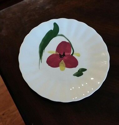 """Vintage Blue Ridge / Southern Potteries Red & Yellow Floral 6 1/4"""" Plate"""