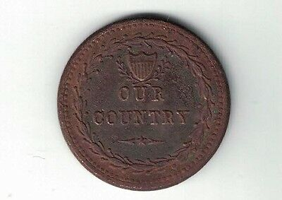 Our Counrty Crossed Cannons & Flags Patriotic Civil War Token