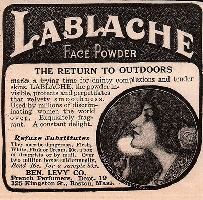 Ad Lot Of 10 Early La Blache Face Powder Ben Levy  Puff French Photos