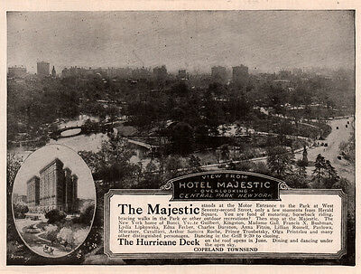 2 1919 - 21 Ads  Majestic Hotel Hurricane Deck  Central Park Famous Residents