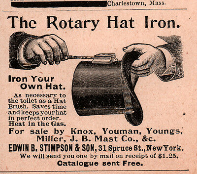 Early  Ad  Edwin Stimpson Son Rotary Hat Iron