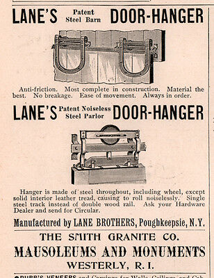 Ad Lot Of 2 1887 - 94 A Ads Lane Bros Steel Door Hanger Poughkeepsie Farm