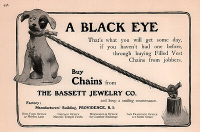 Ad Lot Of 2 1902 -09  Ads  Bassett Jewelry Co Puppy Black Eye On Chain  Gold