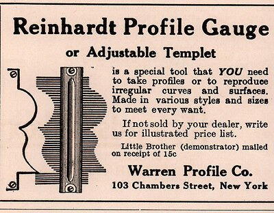 1914 A Ad  Reinhardt Profile Gauge Adjustable Template Little Brother