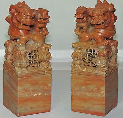 2 NAMED CHINESE SHOUSHAN STONE SEALS / INK STONES with CARVED FOO LION DOGS