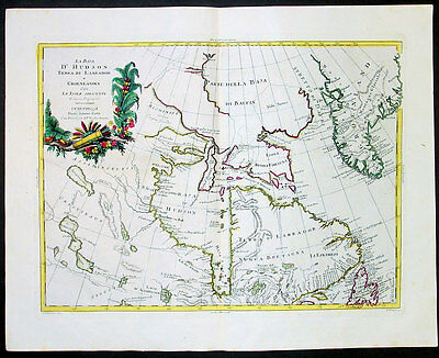 1778 Zatta Antique Map of Canada - Hudson's Bay to Baffins, NFL, Arctic Regions