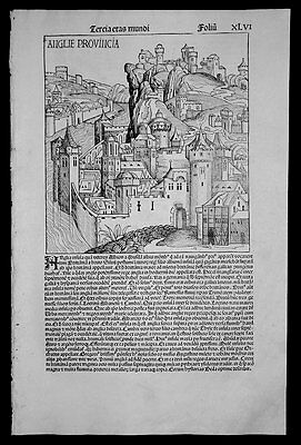 1493 Schedel Old, Antique Pictorial View of Anglie Provincia, London England