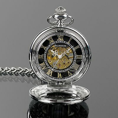 PACIFISTOR Mechanical Skeleton Pocket Watch Retro Vintage Steampunk Silver Chain