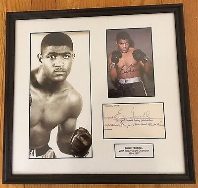 BOXING ERNIE TERRELL Autograph Signed Photo + Index Card Matted ...